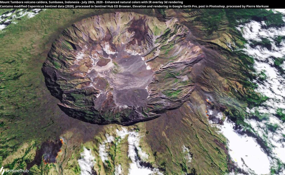 Mount Tambora volcano caldera, Sumbawa, Indonesia - July 28th, 2020 - Enhanced natural colors with IR overlay 3d rendering Copernicus/Pierre Markuse