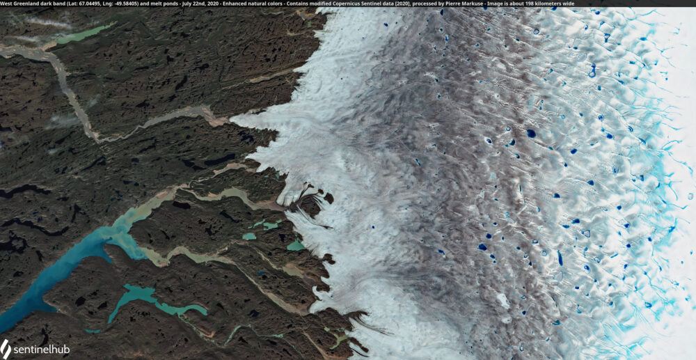 West Greenland dark band (Lat: 67.04495, Lng: -49.58405) and melt ponds - July 22nd, 2020 Copernicus/Pierre Markuse
