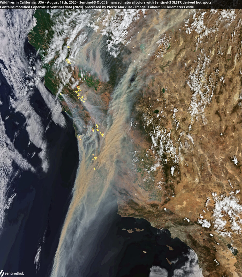Wildfires and smoke in California, USA - August 19th, 2020 Copernicus/Pierre Markuse