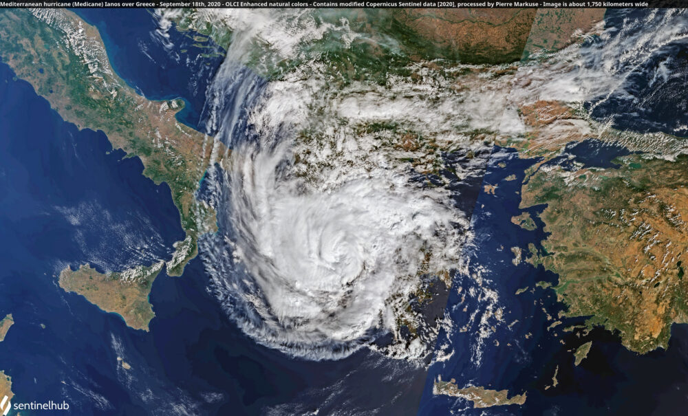 Mediterranean hurricane (Medicane) Ianos over Greece - September 18th, 2020 Copernicus/Pierre Markuse
