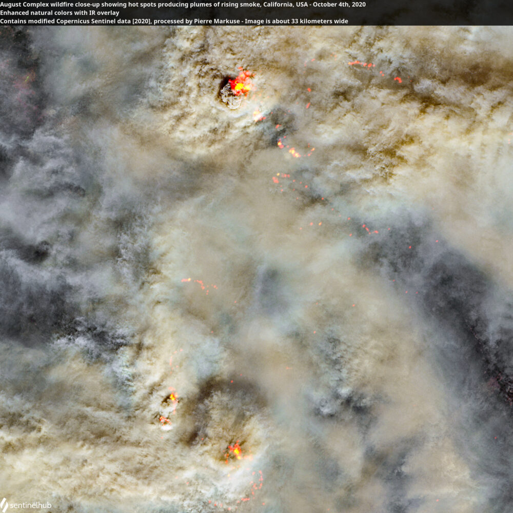 August Complex wildfire close-up showing hot spots producing plumes of rising smoke, California, USA - October 4th, 2020 Copernicus/Pierre Markuse