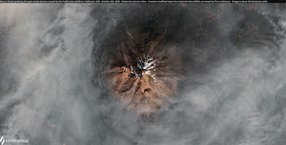 Mount Shasta peeking through smoke plumes caused by the Californian wildfires, California, USA - October 4th, 2020 Copernicus/Pierre Markuse