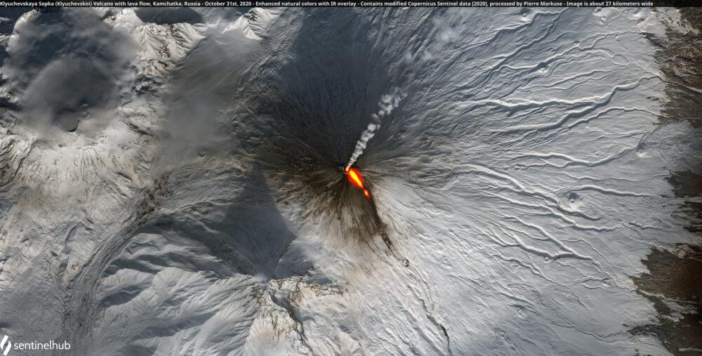 Klyuchevskaya Sopka (Klyuchevskoi) Volcano with lava flow, Kamchatka, Russia - October 31st, 2020 Copernicus/Pierre Markuse