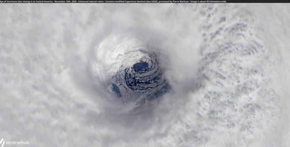 Eye of Hurricane Iota closing in to Central America - November 16th, 2020 Copernicus/Pierre Markuse