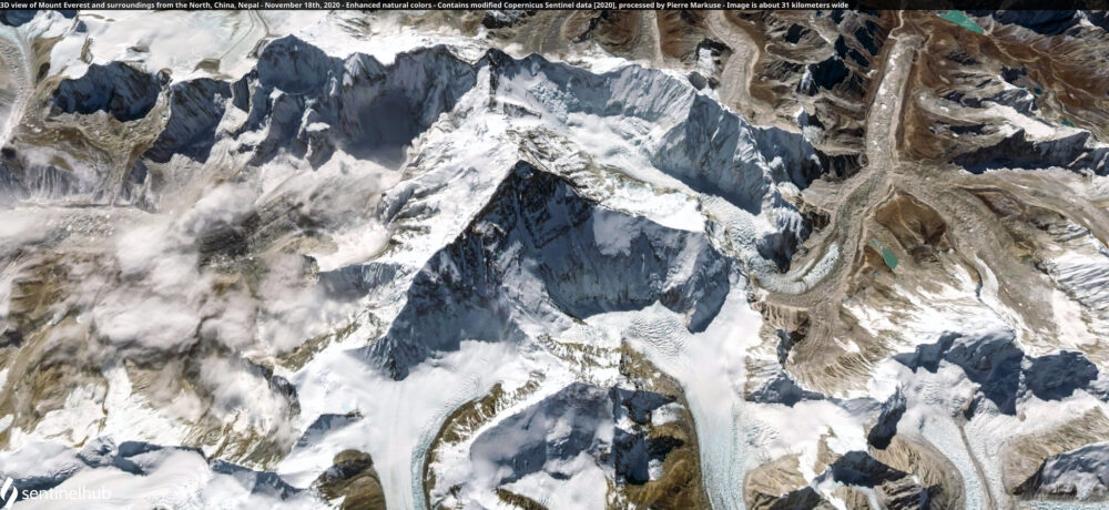 3D view of Mount Everest and surroundings from the North, China, Nepal - November 18th, 2020 Copernicus/Pierre Markuse