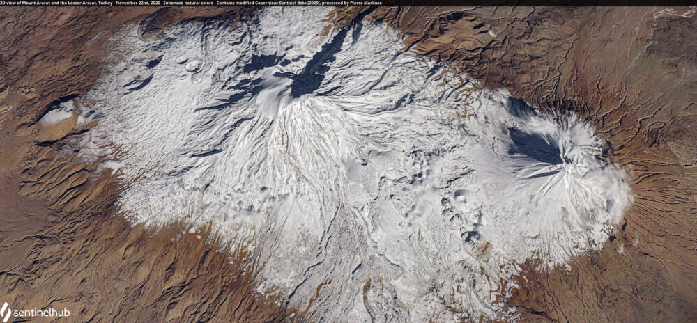 3D view of Mount Ararat and the Lesser Ararat, Turkey - November 22nd, 2020 Copernicus/Pierre Markuse
