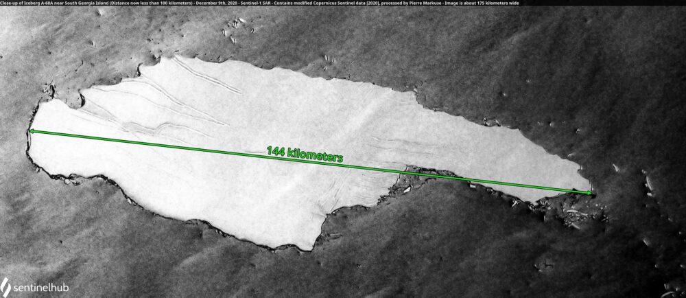 Close-up of Iceberg A-68A near South Georgia Island (Distance now less than 100 kilometers) - December 9th, 2020 - Sentinel-1 SAR Copernicus/Pierre Markuse