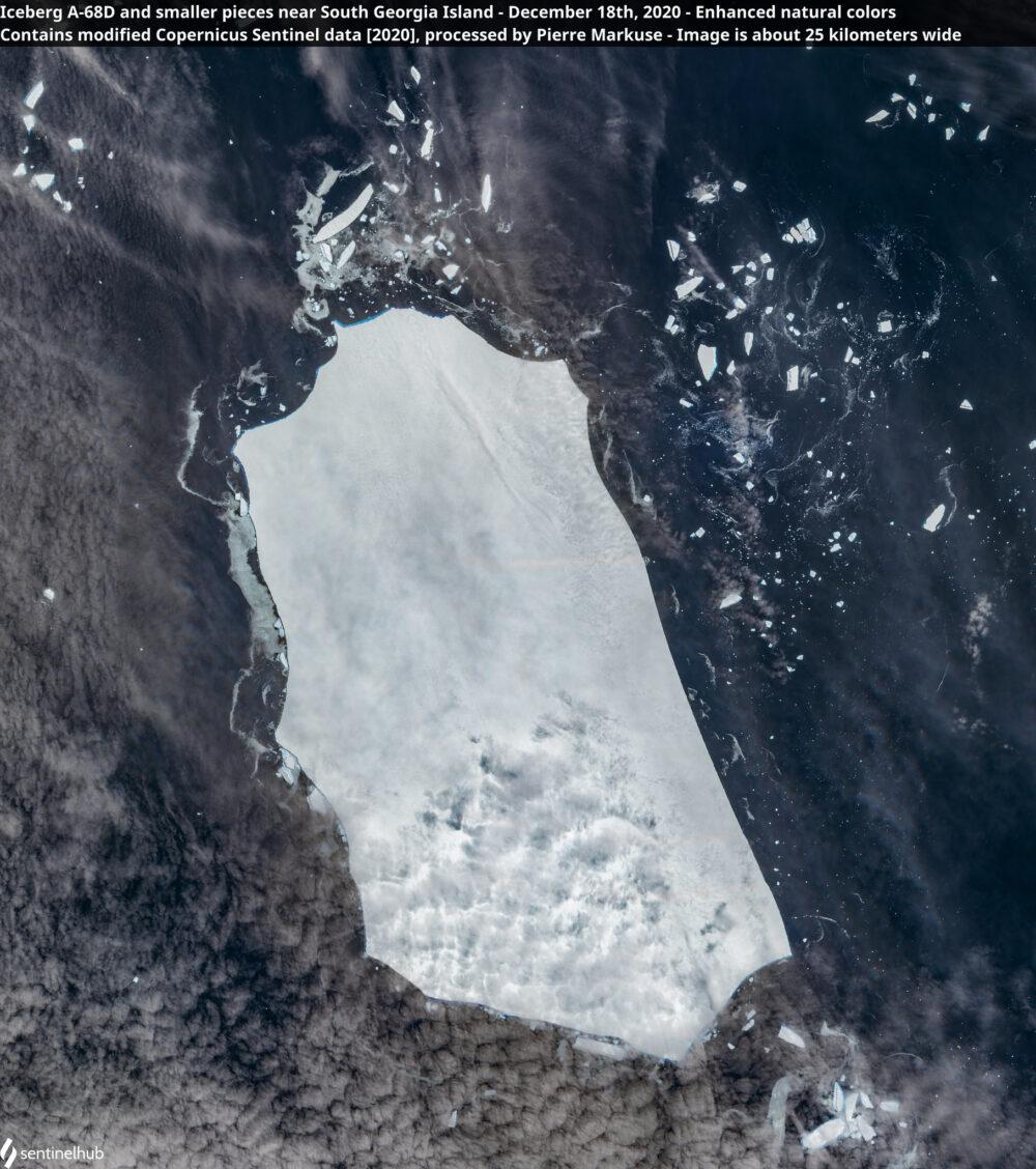 Iceberg A-68D and smaller pieces near South Georgia Island - December 18th, 2020 Copernicus/Pierre Markuse