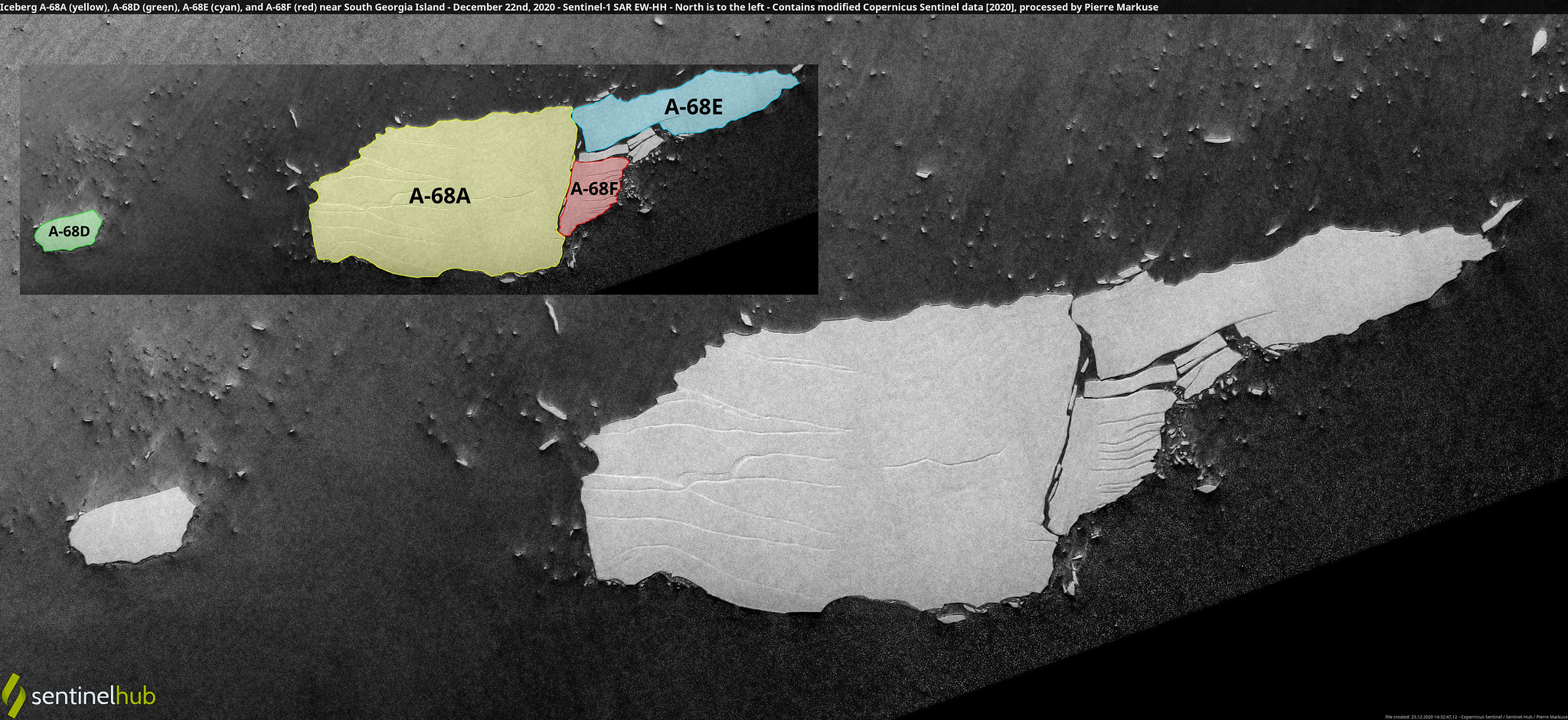 Iceberg A-68A (yellow), A-68D (green), A-68E (cyan), and A-68F (red) near South Georgia Island - December 22nd, 2020 - Sentinel-1 SAR EW-HH - North is to the left Copernicus/Pierre Markuse