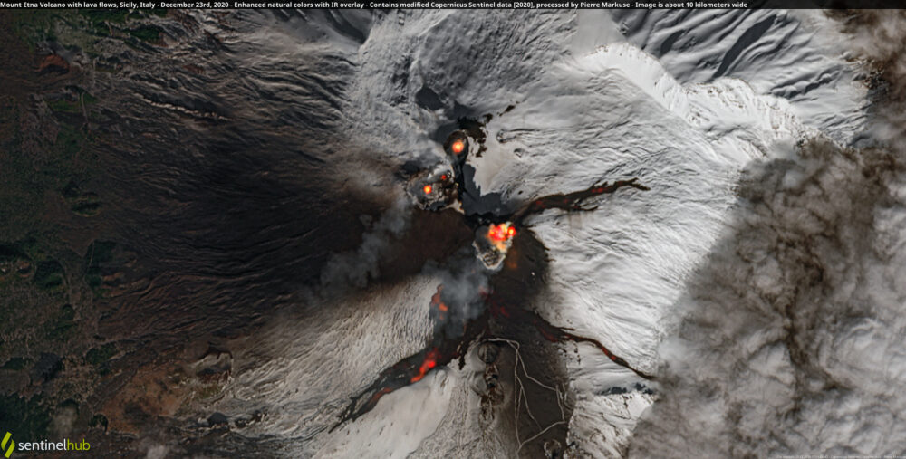 Mount Etna Volcano with lava flows, Sicily, Italy - December 23rd, 2020 Copernicus/Pierre Markuse