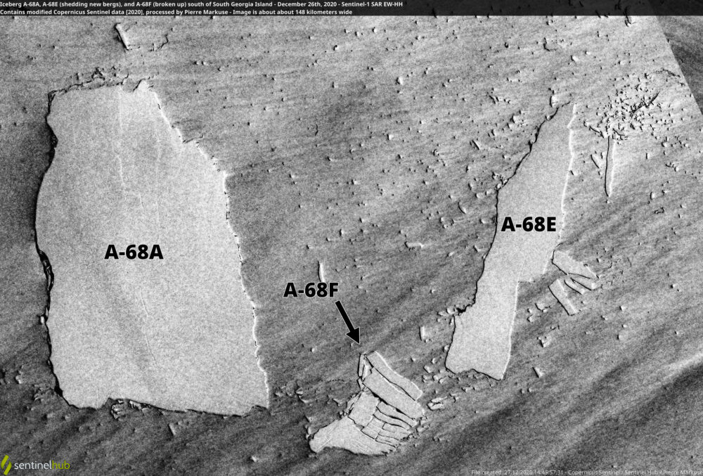 Iceberg A-68A, A-68E (shedding new bergs), and A-68F (broken up) south of South Georgia Island - December 26th, 2020 Copernicus/Pierre Markuse